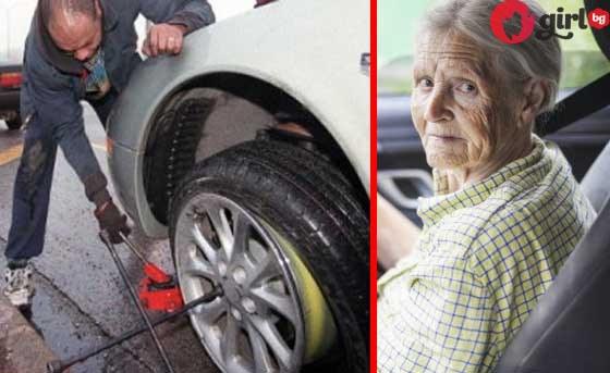 мъж помага на възрастна жена