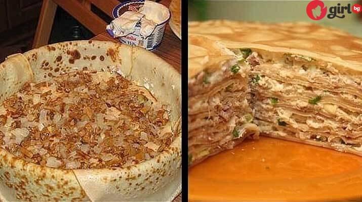 палачинкова торта с пиле и гъби