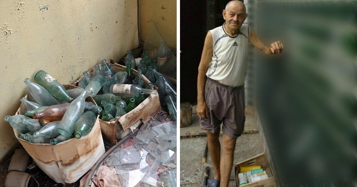 мъж събира бутилки